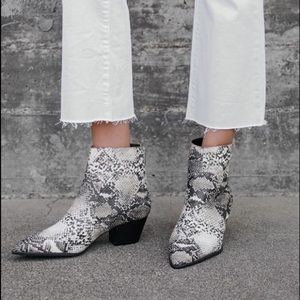 Snake Print Vegan Leather Ankle Boots